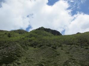 白根隠山を見上げる
