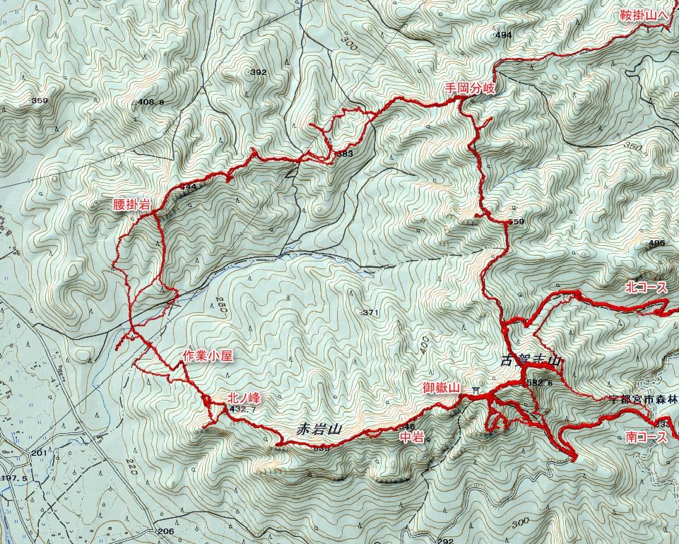 古賀志山、5回目の馬蹄形。標高差367Mなれど累積標高はその4倍も。