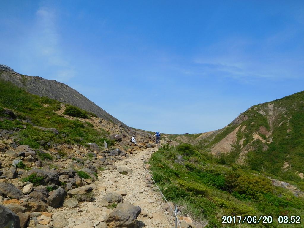 峰の茶屋跡への荒々しい道