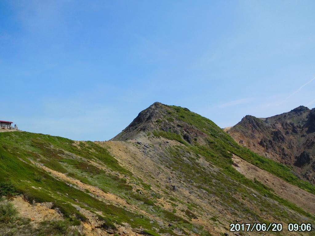 剣ヶ峰とその右に朝日岳