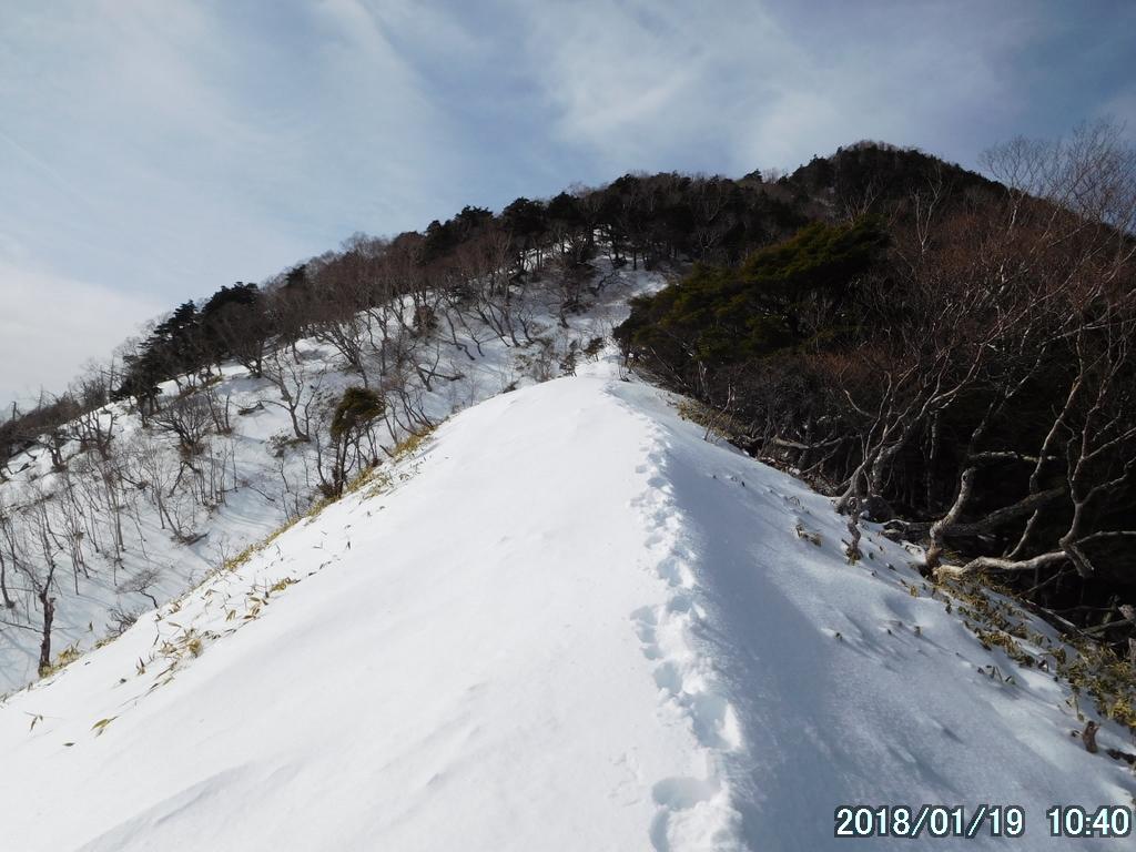 赤薙山直下のヤセ尾根