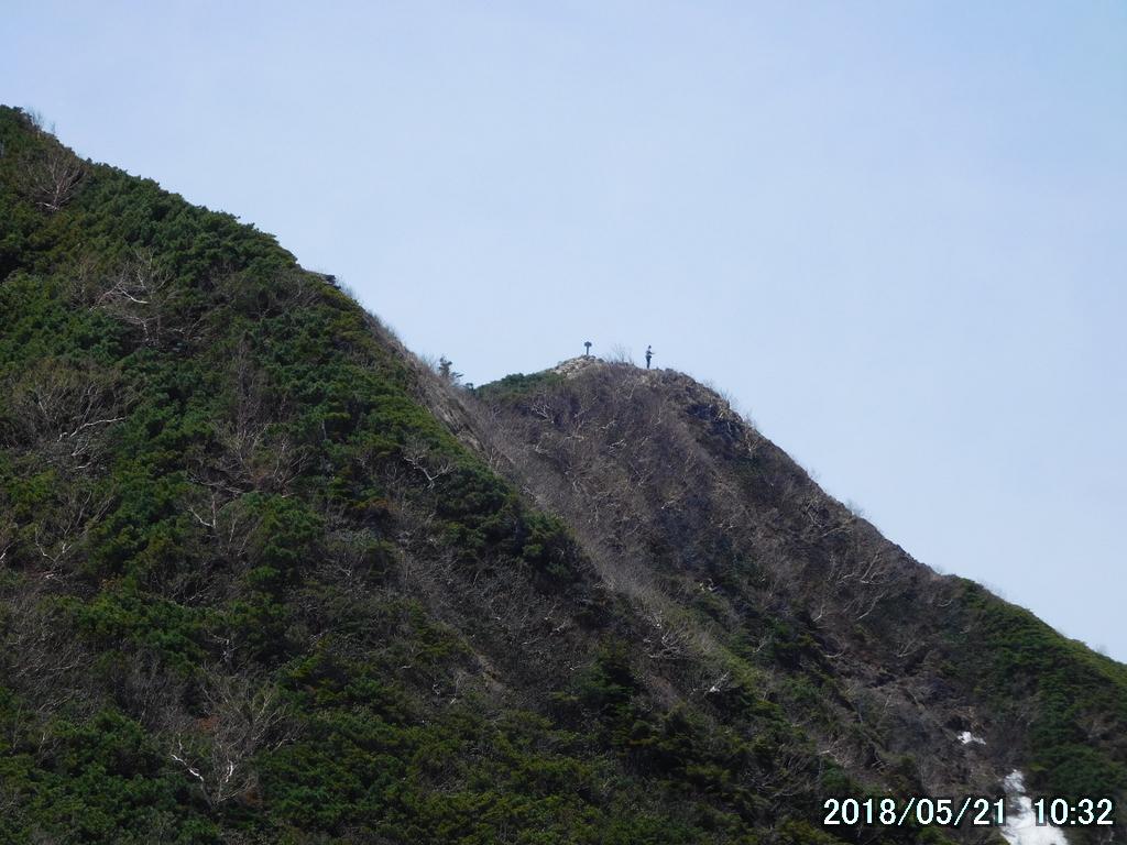 山頂に人がいる