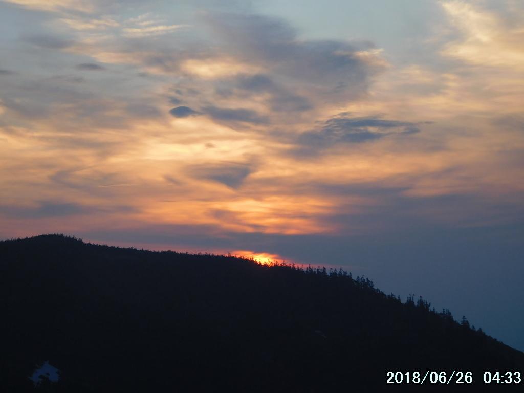 大戸沢岳の向こうが橙色に染まってきた